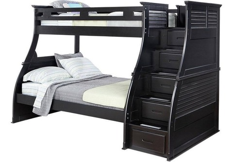 Serta Black Bunk Beds with Storage stairs and mattresses
